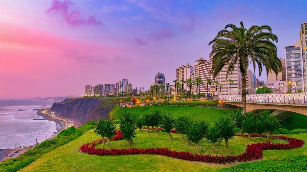 evening view of miraflores district lima peru landscape by the coast