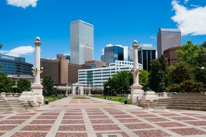 Buildings in downtown Denver from Civic Center Park