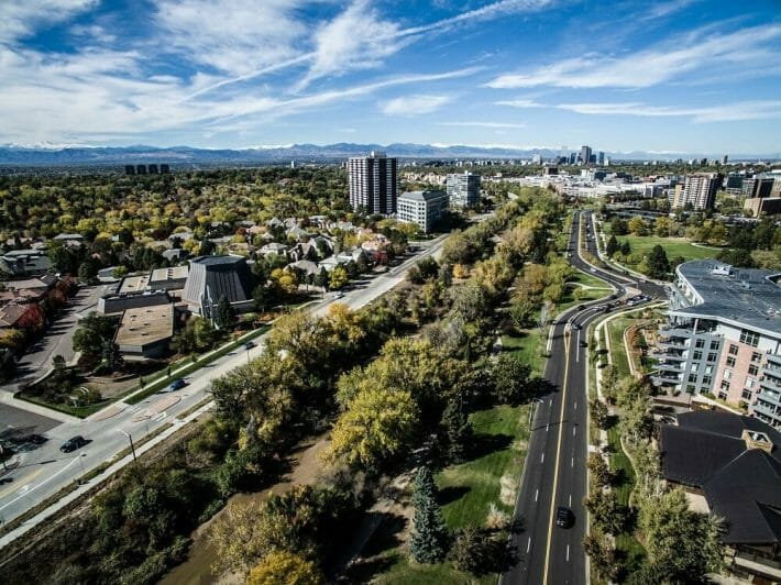 A drone view of the cherry creek neighborhood in Denver