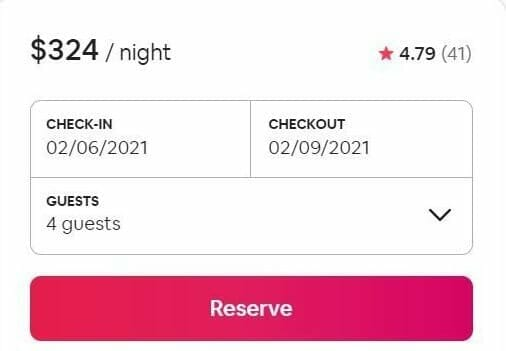 Airbnb tips for guests screenshot of example pricing for a property ($324/night) from 2/6/2021 - 2/9/2021 for 4 guests.
