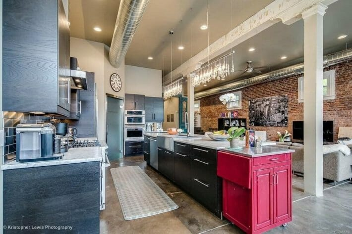 Airbnb tips for guests - kitchen and living area of a functioning art studio in Denver