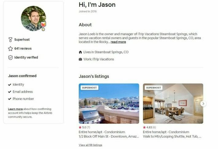 Screenshot showing an example host profile on Airbnb - including info about the host, and their listings