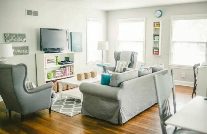 a comfortable Airbnb Grand Junction living room in neutral gray tones
