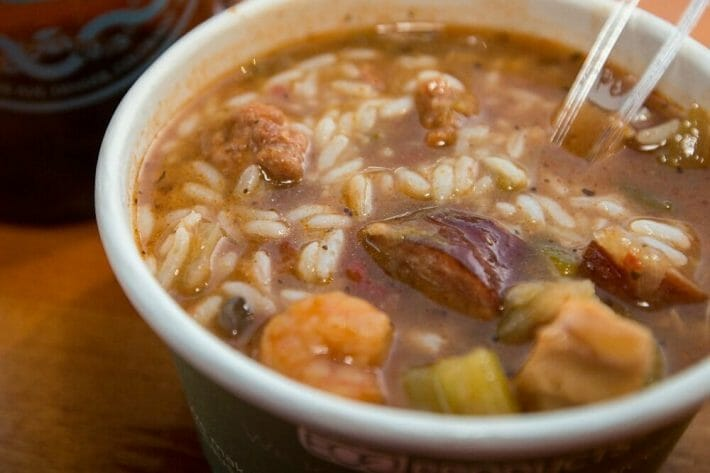 To go cup of gumbo from one of the best spots for soul food in Denver, CO: jessie's smokin' NOLA