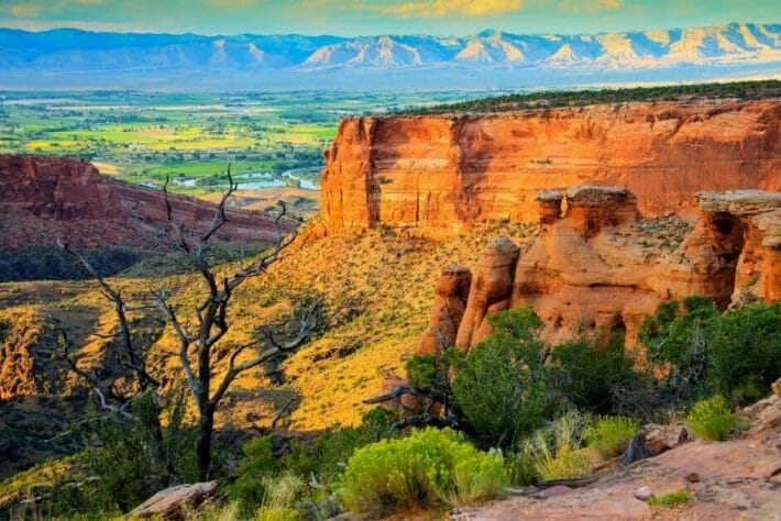 A colorful photo of the Colorado National Monument near Grand Junction, CO