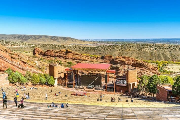 Top view of the amphitheatre stage and surrounding area at Red Rocks Park - one of the closest day trips from Denver