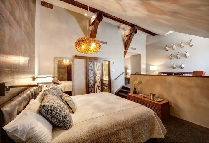 A luxury loft-style room at The Crawford Hotel, a great romantic getaway in Colorado