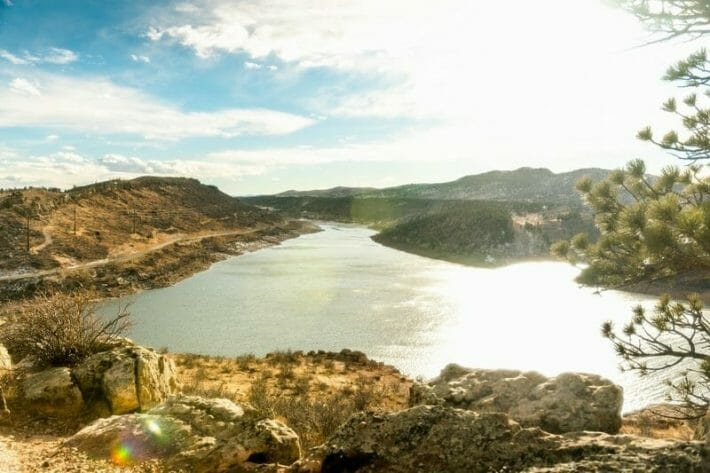 Elevated view of the Horsetooth Reservoir outside of Fort Collins, CO